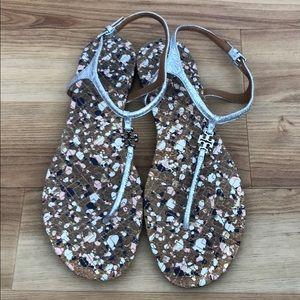 Tory Burch silver sandals, 8.5